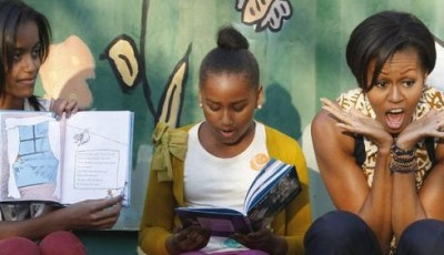 Michelle, Sasha & Malia Obama Reading