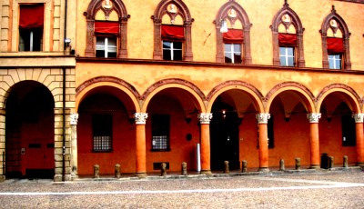 Colorful Building on Via Santo Stefano in Bologna, Italy
