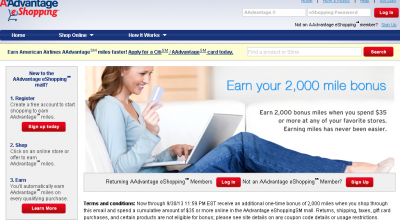 Screenshot of the American Airlines 2000 Mile Promo Running Through Sep 30, 2013