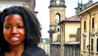 Kim Reyes on a balcony in Bogotá, Colombia