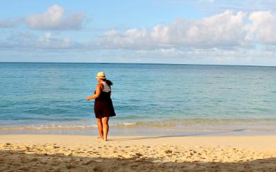 Jessica Fenton of Turquoise Compass enjoying the beach in Puerto Rico.