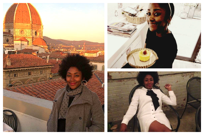 "Tamara (clockwise) enjoying the Florence rooftops, at her favorite bakery ""MADE"" in Rome, and otherwise chilling around town.  [photo credit: Gia Rodriguez, Tamara Castillo, and Kevin Walker respectively]"