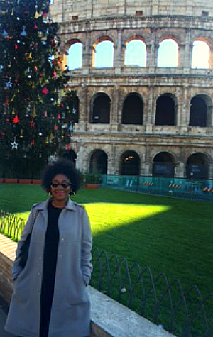 Tamara at the Colosseum in Rome.