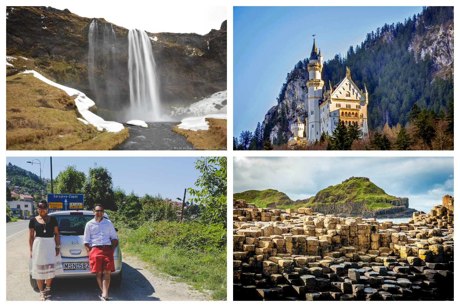 clockwise: Selfoss Waterfall in Iceland [Made All The Difference], Neuschwanstein  Castle in Germany [Travel Addicts], the other-worldly geology of the Giant's Causeway in Ireland [Travel Addicts], Brock and Tanj in the Balkans [A Travelogue by Brock and Tanj]