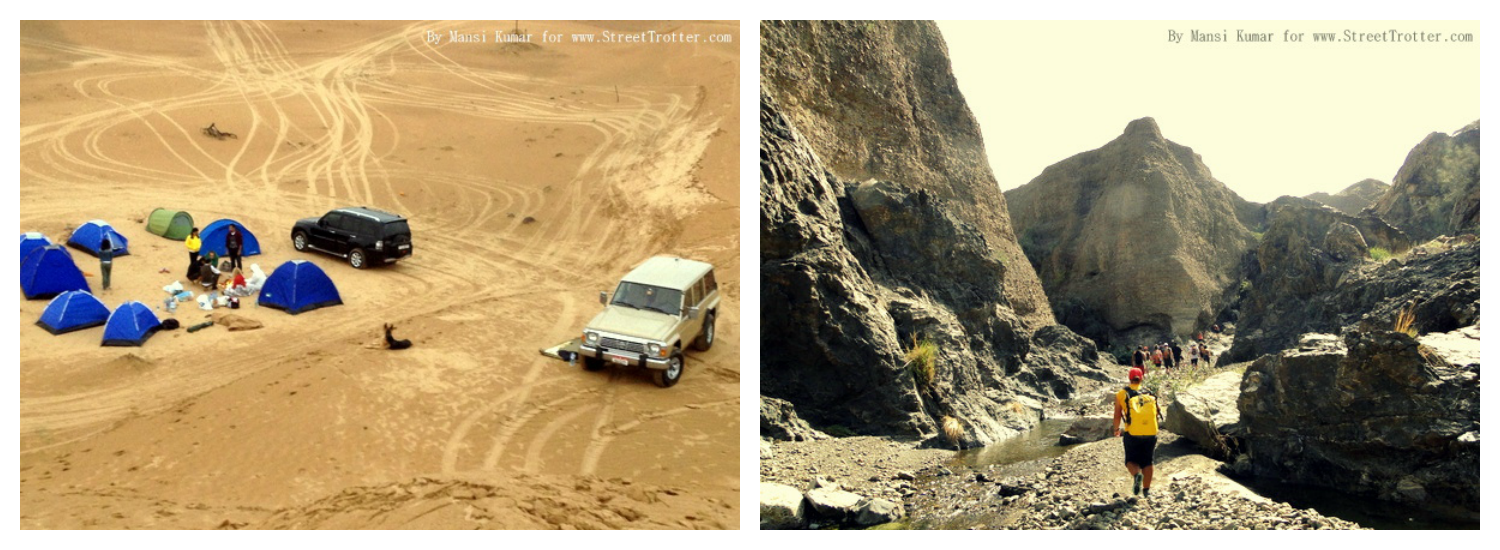 Roadtripping through the UAE: camping in the Al Ain Desert (left) and hiking down to the Hatta Springs (right) [photo credit: Mansi Kumar for Street Trotter]