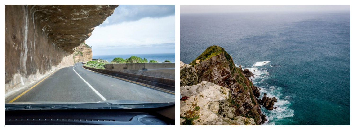 Sights from South Africa's Cape Point Route: Chapman's Pass (left) and Cape of Good Home at the southernmost tip of Africa (right) [photo credit: Travel Addicts]