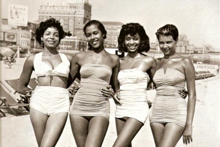 Girls on Chicken Bone Beach in Atlantic City, NJ circa 1930s-1960s. [photo credit:  John W. Mosley]