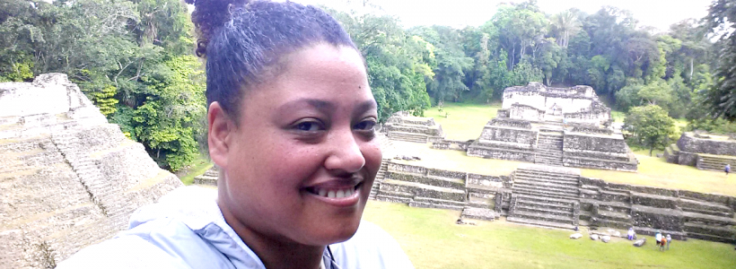 Chelle at the Caracol Mayan Ruins in Belize