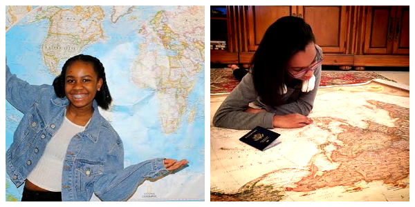 PPP Phase 3 Teen Ambassadors Nayah (l) and Raven (r) excited about their National Geographic Maps